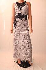 Haute Hippie White Snake Print Black Lace Lined Long Evening Dress