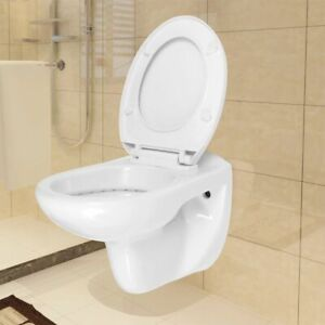 vidaXL-Wall-Hung-Toilet-with-Soft-Close-Seat-Ceramic-White-Bathroom-Closestool