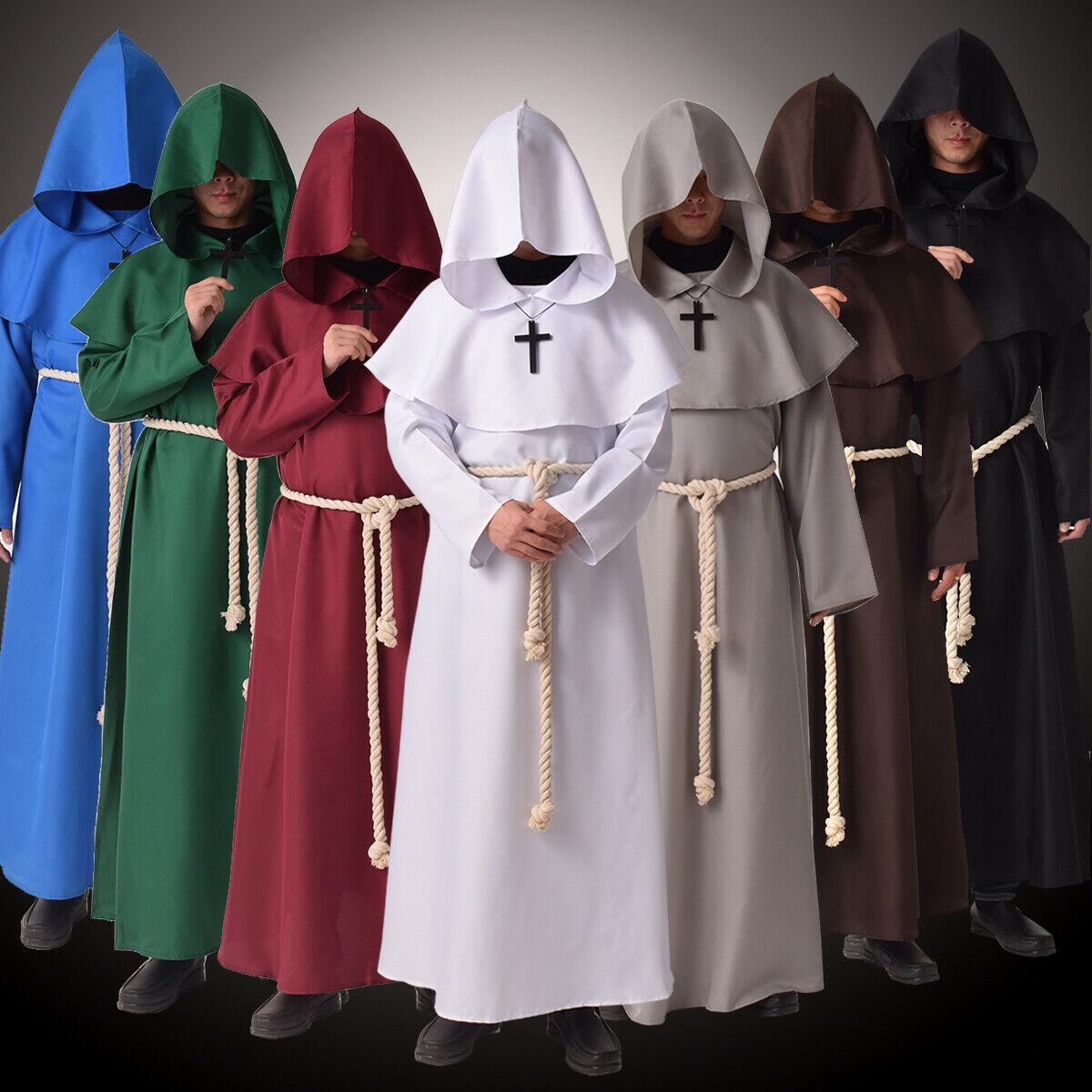 Friar Medieval Hooded Monk Renaissance Priest Robe Costume Cosplay
