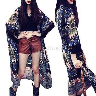 Fashion Floral Print Women Long Cardigan Coat Jacket Kimono Blouse Chiffon Top