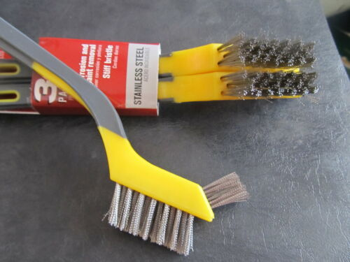 Mini Stainless Steel Bristle Brushes Package of 3 brushes   #SMB3-A  NEW