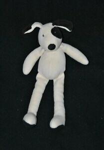 Peluche-doudou-chien-MOULIN-ROTY-blanc-noir-cocard-30-cm-TTBE