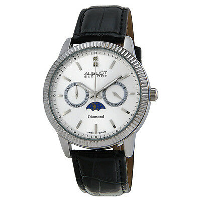 August Steiner Diamond Multi-Function Black Leather Mens Watch AS8051SS
