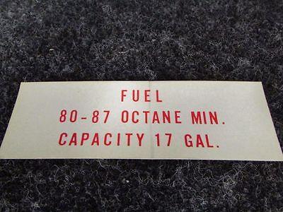 SA 581-703 Piper Placard Fuel 80-87 Octane Minimum Capacity NEW