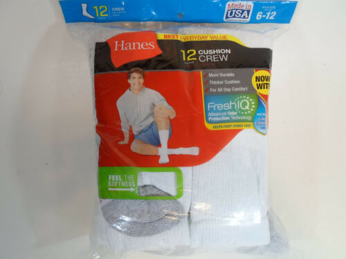 12 PAIR HANES Cushion Crew Socks Mens Shoe Size 6-12 White Long Athletic
