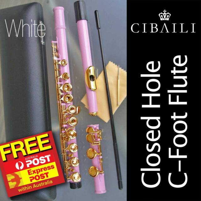 White CIBAILI Student C-foot FLUTE •  CHC 16-keys •  NEW • Free Express Post •