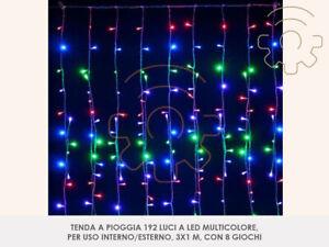 Tenda a pioggia 192 luci di natale a led multicolore 3x1 m per