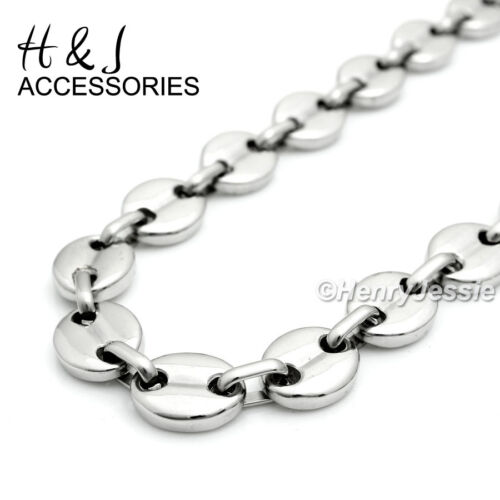 "18-40/""MEN Stainless Steel 10x3mm Silver Puffed Mariner Link Chain Necklace*AN139"