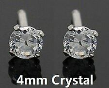 Unisex Men Women Girl 925 Silver Plated Stud Earring 4mm Crystal Diamond Gift