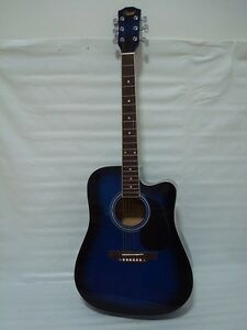 full size 6 string acoustic electric guitar cutaway blue 852661635714 ebay. Black Bedroom Furniture Sets. Home Design Ideas