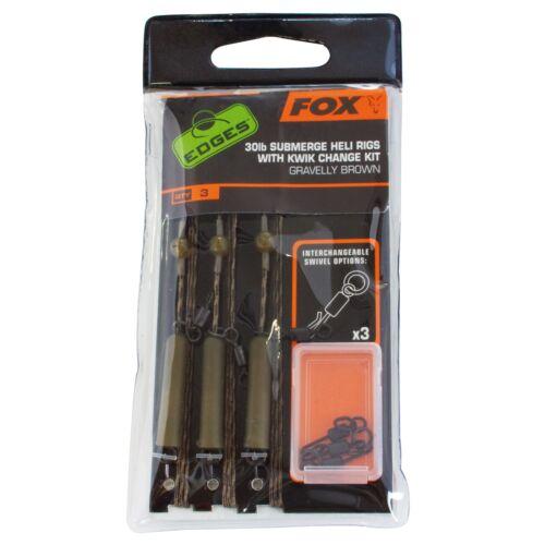 Fox Edges Ready Tied Submerge Leaders Heli Rig//Lead Clip 75cm 30LB 3 Stück