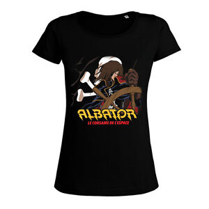 Albator Femme Pirate t-shirt femme noir albator 88 pirate série animé vintage dessin mode