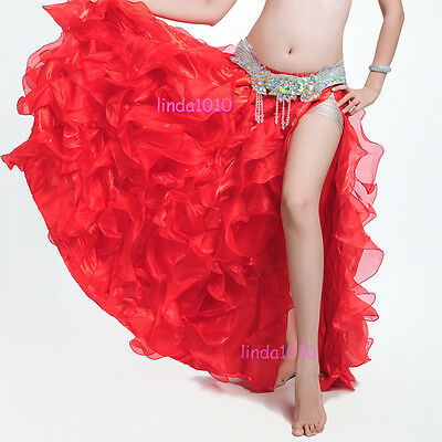 New Belly Dance Costume Waves Skirt Dress Trailing with Slit Skirt 10 Colors