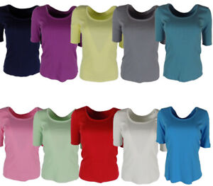 New-Women-039-s-ex-M-amp-S-Half-Sleeve-Cotton-T-shirt-Top-Sizes-8-18-NEW
