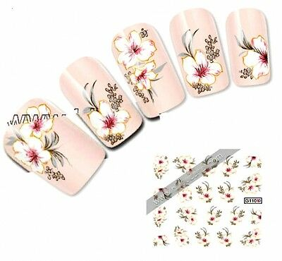 NB056 NAGELSTICKER Nail Art Tattoo Aufkleber rosa weiße Blumen