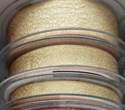 1m  10 15 25mm BERISFORDS RIBBON RAZZLE GOLD  COLOUR SHIMMER LAME LUREX SPARKLY