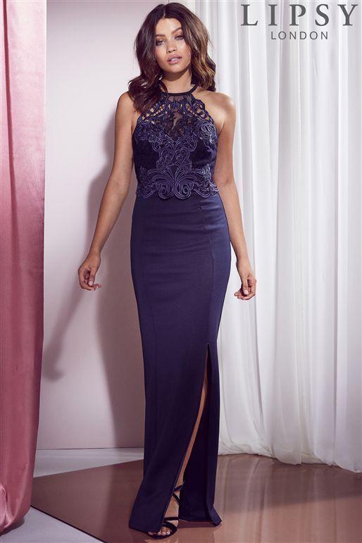 BNWT Lipsy Navy Lace Artwork Detail Fishtail Maxi Evening Dress Size 8