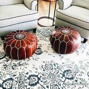 Awesome Details About Sale Set Of 2 Moroccan Genuine Leather Pouf Ottoman Footstool Pouffe Brown Tan Ncnpc Chair Design For Home Ncnpcorg