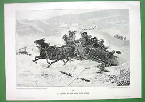 WINTER-Joy-Ride-in-Horse-Cart-VICTORIAN-Era-Antique-Print