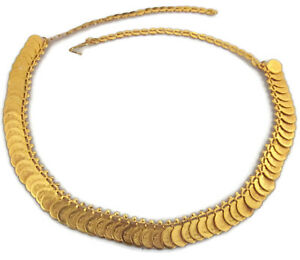 Chain-Necklace-Choker-Gold-Coin-Statement-Fashion-Jewelry-Bollywood-Festival