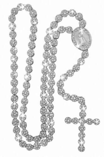 "Iced Silver Zircone cubique Rond Fleur Tournesol CLUSTER ROSARY CROIX Chaîne 36/"" Collier"