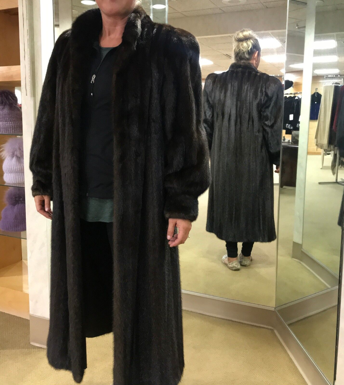 Fur Coat Natural Mahogany Female Mink, size 12, excellent condition, one owner