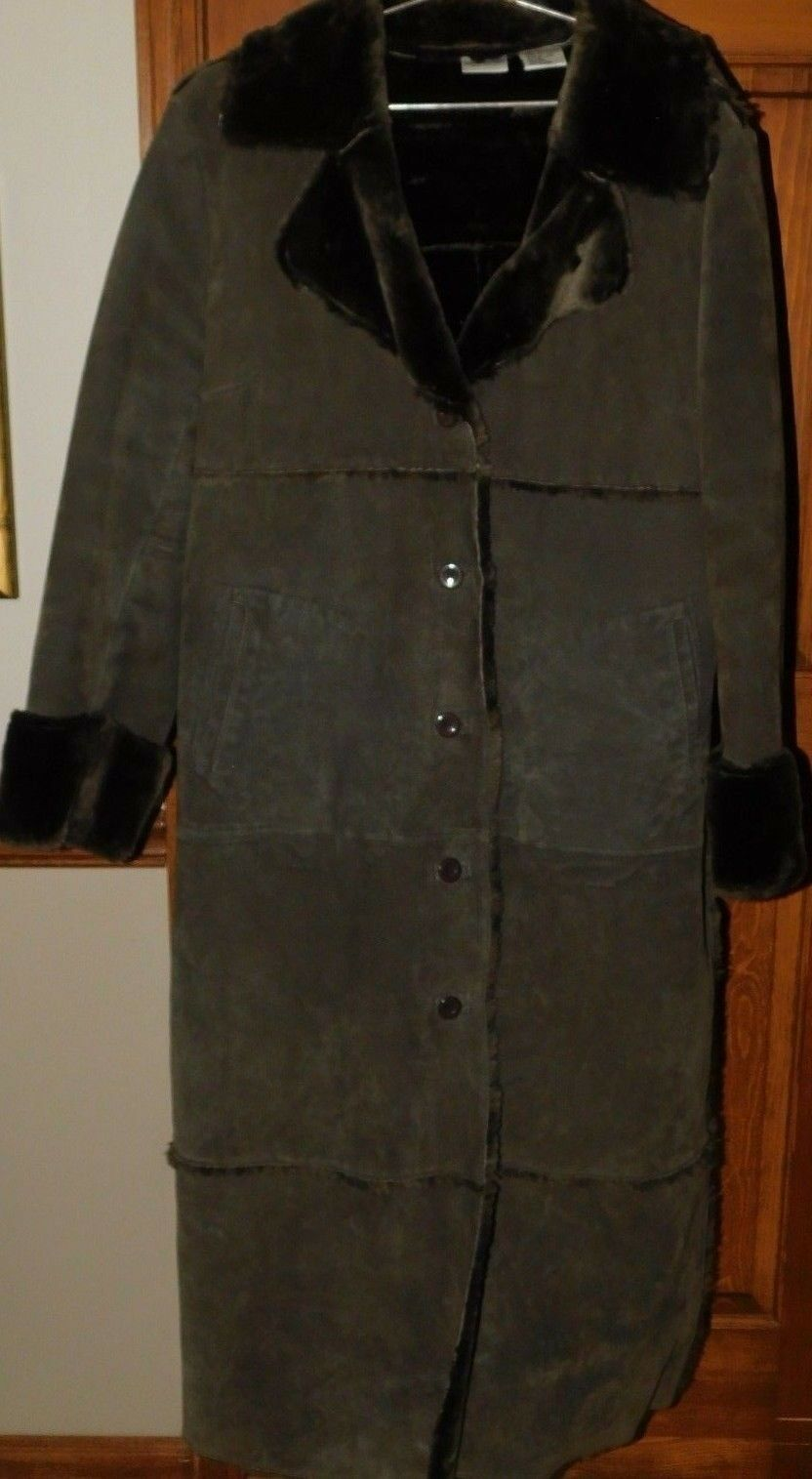 Newport News Easy Style Patchwork Leather Duster Trench Coat Faux Fur Lined 1x