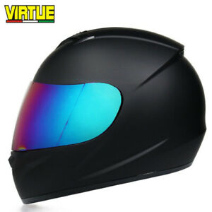 DOT-Full-Face-Motorcycle-Helmet-w-Sun-Visor-Motocross-Racing-Matte-Black-M-L-XL