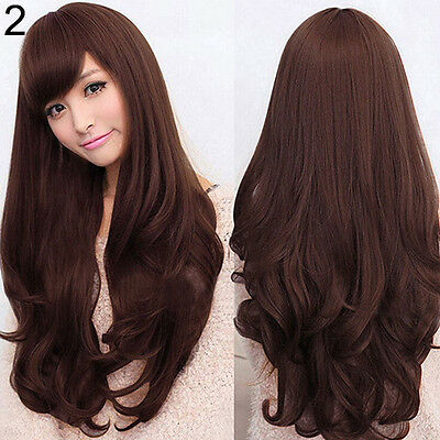 Women Long Curly Wavy Full Wig Heat Resistant Hair Cosplay Party Lolita Finest
