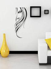 Fashion Woman Girl Face vinyl decal sticker wall art home salon decoration W2