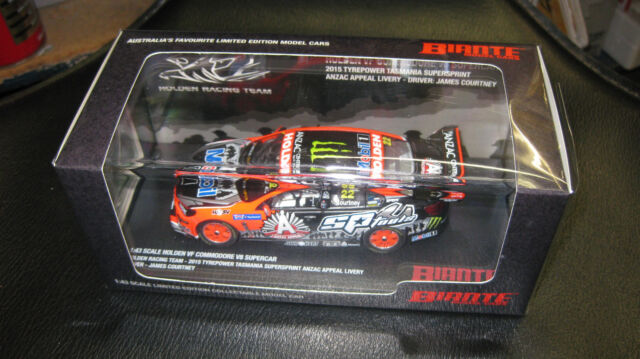 BIANTE 1/43 J COURTNEY #22 HOLDEN COMMODORE 2015 V8 SUPERCAR ANZAC APPEAL LIVERY