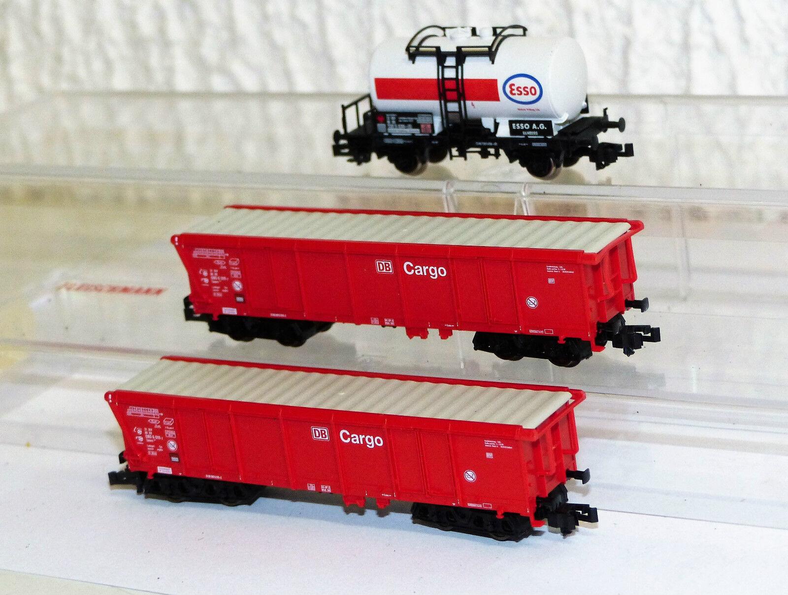 3x Fleischmann piccolo carri merci: 8410 K esso, 2x 8293 K Roll TETTO AUTO TOP N