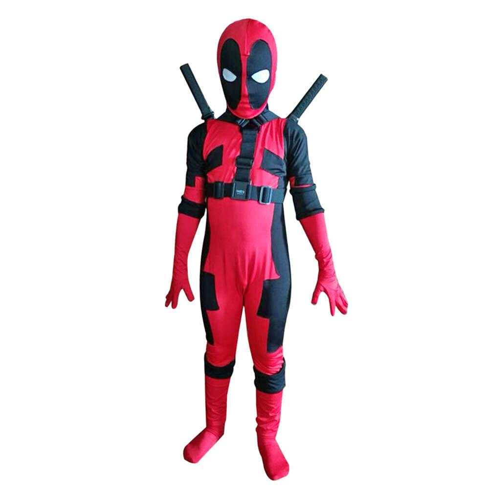 Deadpool Halloween Costume Kids Child Whole Body Jumpsuit X-MAN Zentai Boys Suit