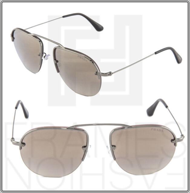 399724b442c PRADA TEDDY PR58OS Aviator Violet Gunmetal 5AV-1K2 Mirrored Sunglasses 58OS