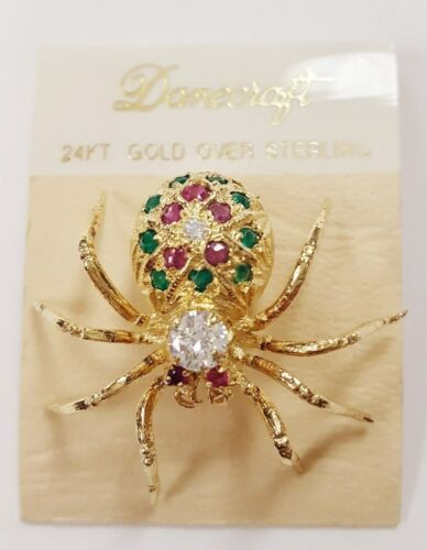 DANECRAFT 24KT GOLD OVER STERLING SILVER SPIDER GEMSTONE PIN BROOCH ON CARD S937