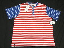 $38 NWT Mens Enyce Sean Combs Americana Striped Henley Shirt Tee 4XL 4XB 4X M882