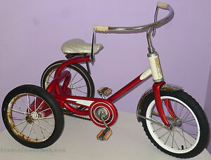 MURRAY-CHAIN-DRIVE-TRICYCLE-VINTAGE-1950s-ORIGINAL-RED-amp-WHITE-PAINT