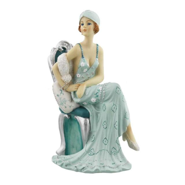 Art Deco Broadway Belles Lady Figurine Statue Sitting. Blue Teal Colour 60830