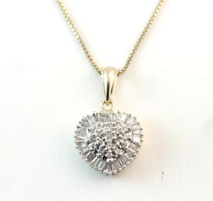 2.80 Carat Cluster Round Cut Diamond Heart Pendant 14K Yellow Gold Finish