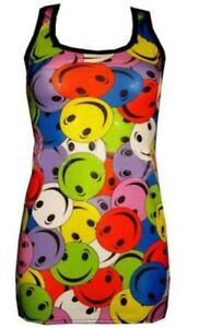 NEW-FUNKY-MULTI-SMILE-FACES-PRINT-LONG-VEST-TANK-TOP-GOTH-PUNK-EMO