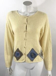 Christopher Banks Womens Cardigan Sweater Sz Medium Yellow Fall ...