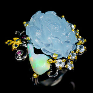 AAA-Carving-22ct-Natural-Aquamarine-925-Sterling-Silver-Ring-Size-8-5-R95887