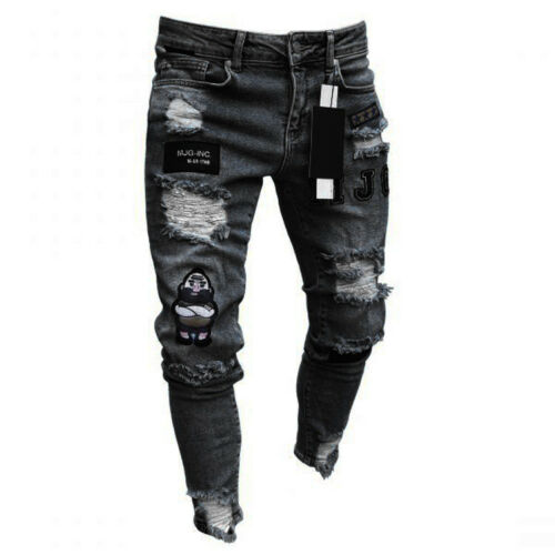 Men/'s Ripped Jeans Super Skinny Slim Fit Denim Pants Destroyed Frayed Trousers