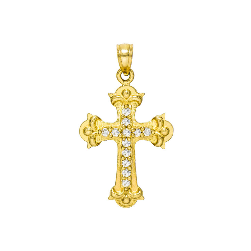 14K Yellow gold Cross Charm Pendant, 0.95 Inches (0.18 Cttw)