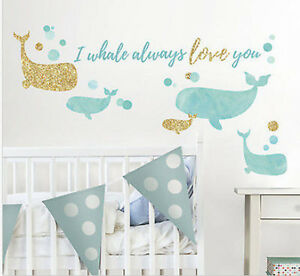 Details About I Whale Always Love You Glitter Wall Stickers 32 Decals Nursery Bedroom Decor