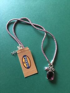 Fossil-Silver-Rhinestone-Mauve-Stone-Necklace
