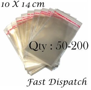 200 Cellophane bags 10 X 14 cm Clear Cello Party jewellery Packing 50-100