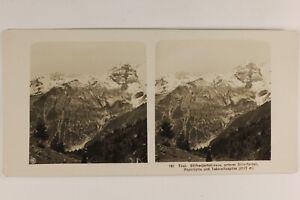 Tirolo Montagne Alpes Neige Foto Stereo Vintage Analogica c1905