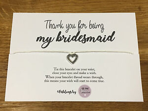Personalised Wish Bracelet Thank You For Being My Bridesmaid Gift