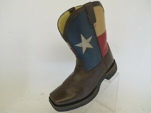 Lil-Durango-Brown-Faux-Leather-8-034-Patriot-Flag-Cowboy-Boots-Youth-Size-6-5-M